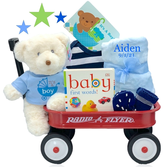 The gift partners baby girl tote gift basket personalized its a boy wagon negle Image collections